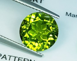 "4.31 ct ""IGI Certified "" Lovely Rare Round Cut Natural Green Peri"