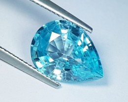 "6.52 ct ""IGI Certified"" Fantastic Greenish Blue Pear Cut Natural"