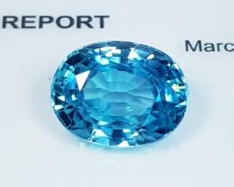 "7.11 ct ""IGI Certified"" Fantastic Greenish Blue Oval Cut Natural"
