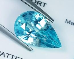 "7.37 ct ""IGI Certified"" Beautiful Greenish Blue Pear Cut Natural"