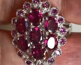 Ruby Pink Rhodolite Garnet  .925 Sterling Silver Ring No Reserve