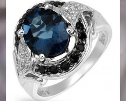 A BEAUTIFUL RING ~ LONDON TOPAZ, SPINEL & 925 STERLING SILVER ~ SIZ
