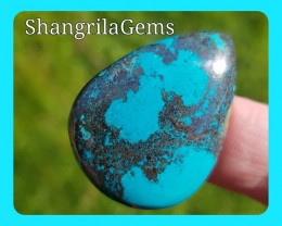 35mm Chrysocolla pear cabochon with Hematite also called Shattuckite 35mm b