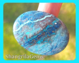 41mm Azurite Chrysocolla cabochon oval also called Shattuckite 56ct 41 by 3