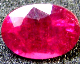 FREE SHIPPING EYE CLEAN SPARKLING OVAL RUBY 1.10 CTS RM 117