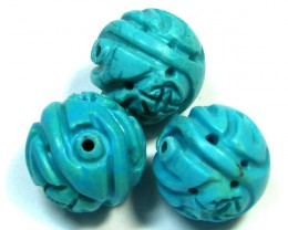 PARCEL TORQUOISE HAND CARVED BEADS 58.20 CTS SGS 78