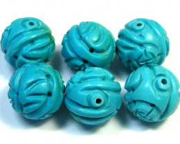 PARCEL TORQUOISE HAND CARVED BEADS 133 CTS SGS 79