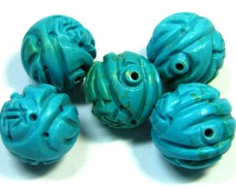 PARCEL TORQUOISE HAND CARVED BEADS 112.05 CTS SGS 81