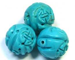 PARCEL TORQUOISE HAND CARVED BEADS 69.05 CTS SGS 84