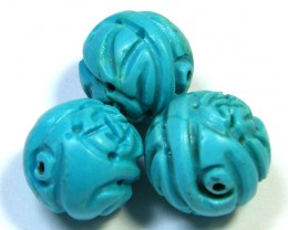 PARCEL TORQUOISE HAND CARVED BEADS 67.55 CTS SGS 89
