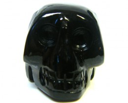 BLACK JASPER SKULL SKELETON CARVING 101.90GRAMS AG689