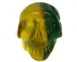 MULTICOLOUR FLUORITESKULL SKELETON CARVING 102.10GRAMS AG706