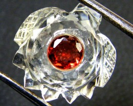 CARVED CRYSTAL FLOWER WITH TOURMALINE 7.15 CT SGS 282