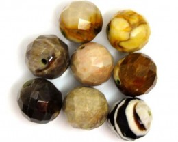PETRIFIED WOOD BEADS, (8 PC) 64.9 CTS NP-1188