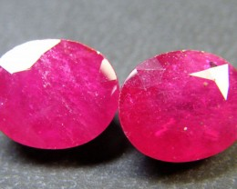 PAIR DEEP RASBERRY RED RUBIES 12.25 CTS RM 246