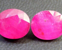 PAIR DEEP RASBERRY RED RUBIES 10.25 CTS RM 249