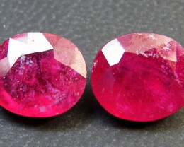 PAIR DEEP RASBERRY RED RUBIES 6.80 CTS RM 250