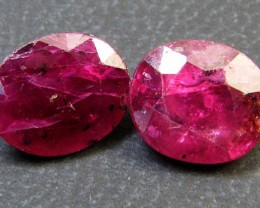 PAIR DEEP RASBERRY RED RUBIES 4.75 CTS RM 255