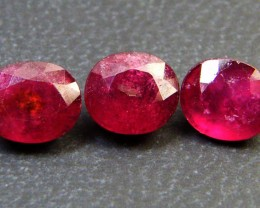 PARCEL 3 PCS DEEP RASBERRY RED RUBIES 4 CTS RM 260