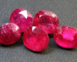 PARCEL 5 PCS DEEP RASBERRY RED RUBIES 12.60 CTS RM 273