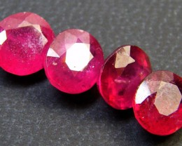 PARCEL 4 PCS DEEP RASBERRY RED RUBIES 6.10 CTS RM 276