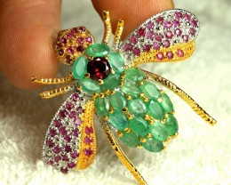 61.5 Carat Emerald, Ruby, Sterling Silver 14K Gold Plated Broach - Beautifu