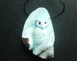 234ct New Design Carved Owl Larimar Pendant (Providing String($0.5))(180423
