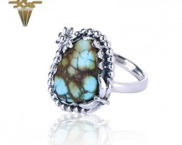 32.4ct New Design Natural Precious Turquoise Adjustable Size Sterling Silve