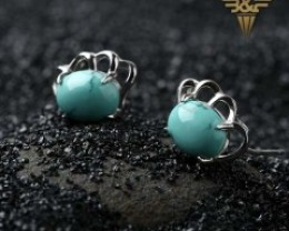 New Design Precious Natural Turquoise Trendy Women Wings Silver Earrings (m