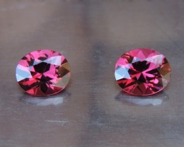 3.44cts Rhodolite Pair,  Open Color,  Precision Cut, Clean, Untreated