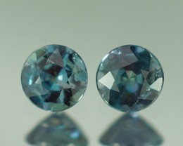 0.26 CT 3X3 MM BEAUTIFUL BLUISH GREEN ROUND SHAPE NATURAL ALEXANDRITE PAIR