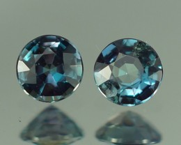 0.25 CT 3X3 MM BEAUTIFUL BLUISH GREEN ROUND SHAPE NATURAL ALEXANDRITE PAIR