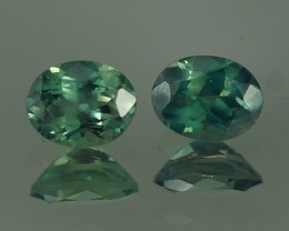 0.59 CT BEAUTIFUL BLUISH GREEN OVAL SHAPE NATURAL ALEXANDRITE PAIR