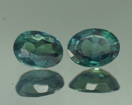 0.58 CT BEAUTIFUL BLUISH GREEN OVAL SHAPE NATURAL ALEXANDRITE PAIR