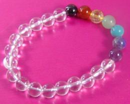 90.10  CT White  quartz and mix  colors  Stone Bracelet 8. mm