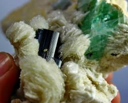 1207CT Natural - Unheated  Tourmaline Fluorite Combine Crystal Specimen