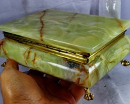 8900 CT Natural - Unheated Onyx Carved Jewelry Box Stone Special Shape