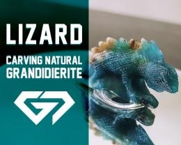 Gorgeous! 53.65ct Monitor Lizard Carving Natural Green Grandidierite