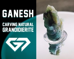 Gorgeous! 43.26ct Genesh Carving Natural Green-Blue Grandidierite