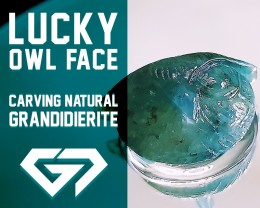Gorgeous! 29.24ct Owl Face Carving Natural Green Grandidierite