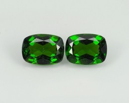 2.80  cts Eye Catching Natural Rich Green Chrome Diopside Cushion Pair