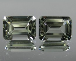 7.83 Cts Natural Green Amethyst/Prasiolite Octagon Cut 2 Pcs Brazil Gem