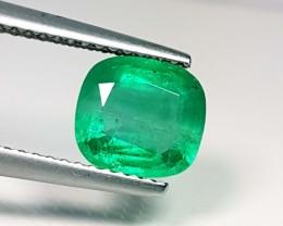 1.69 ct Lovely Gem Green Cushion Cut Natural Emerald