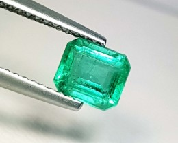 0.97 ct Beautiful Green Emerald Cut Natural Emerald