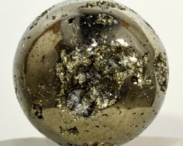 44mm Golden Pyrite w/ Quartz Crystal Geode Sphere Ball - Peru (STPY-PA290)
