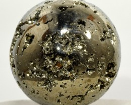45mm Golden Pyrite Geode Sphere Druzy Crystal Mineral Ball Peru STPY-PA293