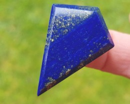 38mm Lapis Lazuli blue free form kite irregular faceted cabochon 38 by 27 b