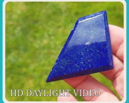 63mm Lapis Lazuli blue free form pentagon irregular faceted cabochon 63 by