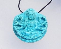 222ct New Design Natural Howlite Carved Guanyin Pendant(18042504)