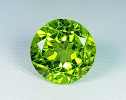 "3.66 ct ""IGI Certified "" Exclusive Gem Round Cut Natural Peridot"
